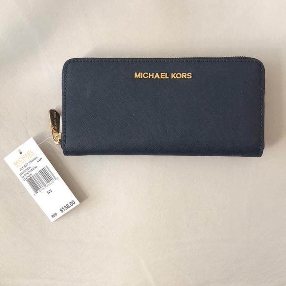 02005554f5dc Michael Kors Bags | Navy Blue Zip Around Wallet | Poshmark